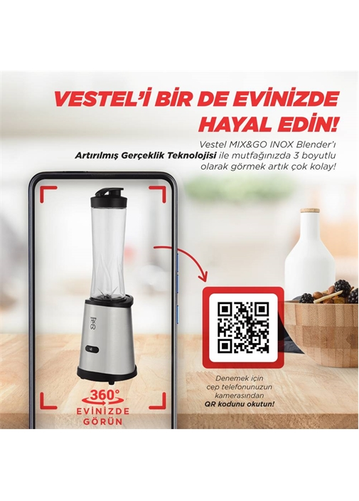 Vestel Mix&Go Inox Blender