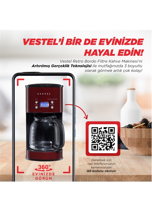 Vestel Retro Bordo Filtre Kahve Makinesi