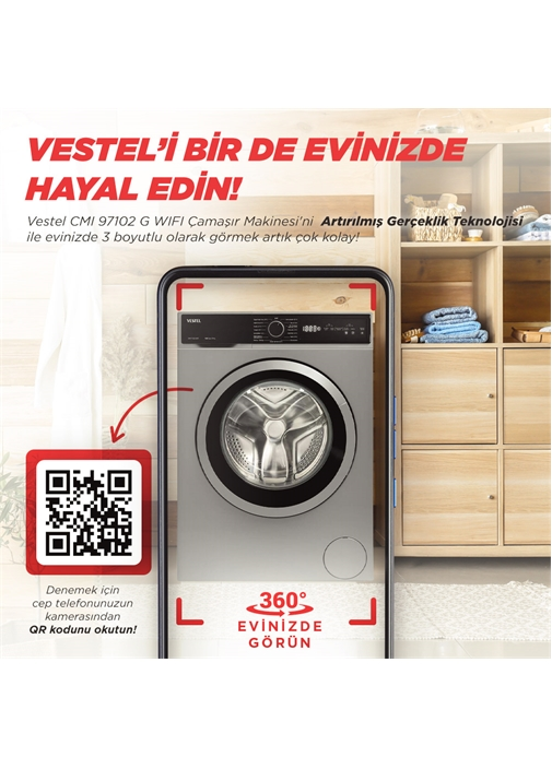 Vestel CMI 97102 G WIFI 9 kg 1000 Devir Çamaşır Makinesi