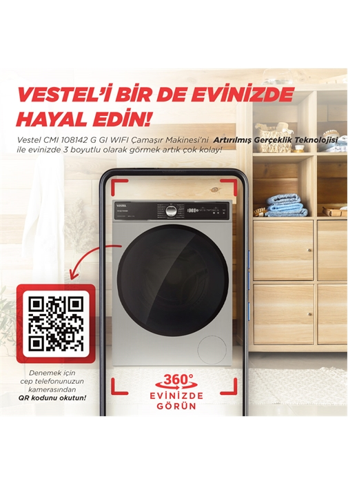 Vestel CMI 108142 G GI Pro WIFI 10 Kg 1400 Devir Çamaşır Makinesi