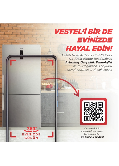 Vestel NFK64012 EX GI Pro WIFI No-Frost Buzdolabı