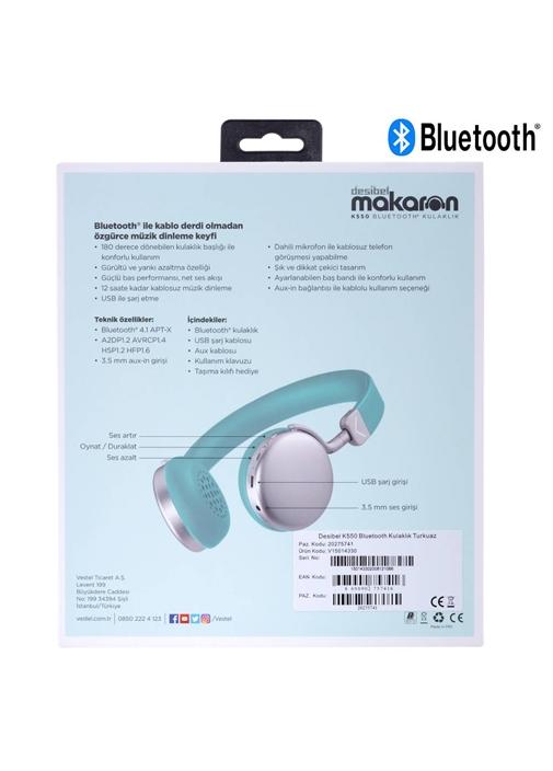 Vestel Desibel K550 Bluetooth Kulaklık Turkuaz